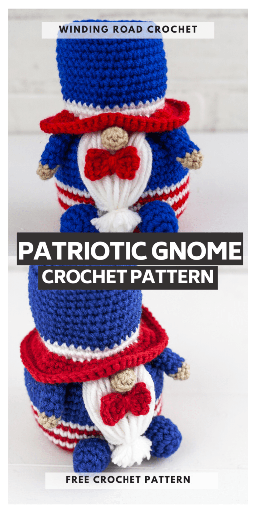 Make a Crochet Patriotic Gnome with this free crochet pattern. This gnome makes a great gift or just add them to your collection.