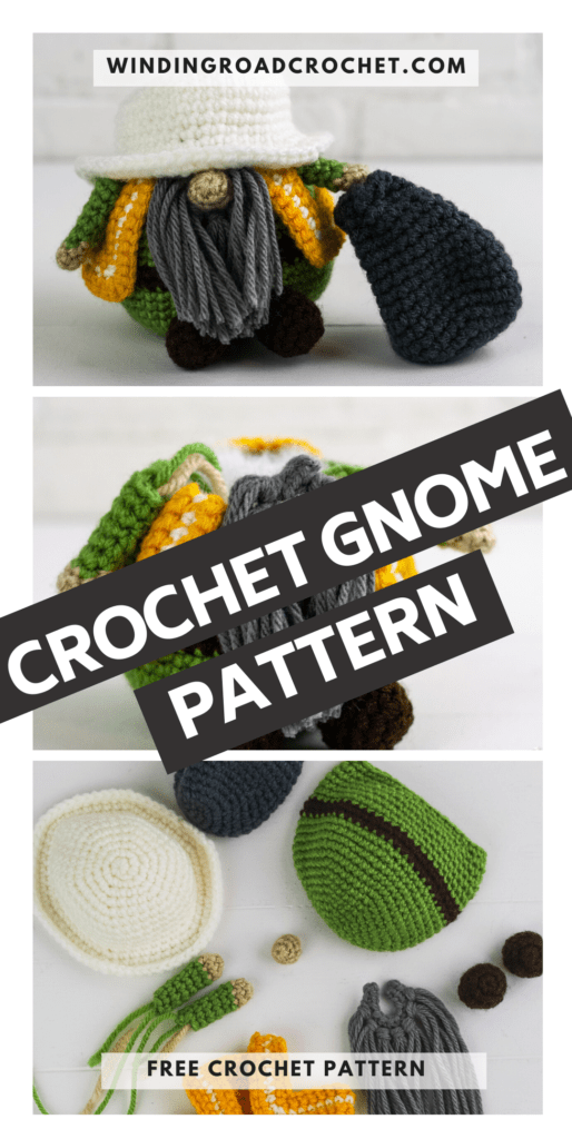 Crochet a sanitation worker or garbage gnome with this free crochet pattern. This is one of many of my profession gnomes series.