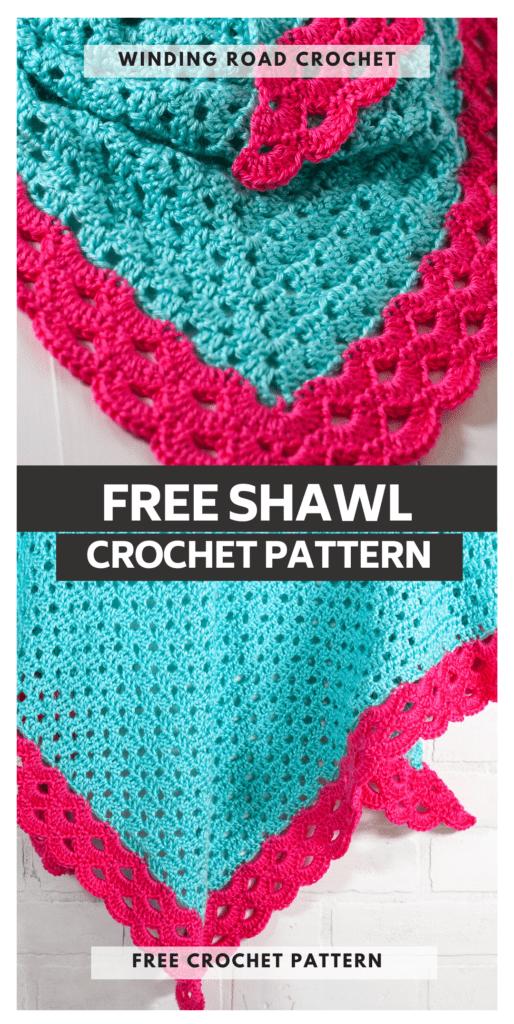 Free crochet pattern for a beautiful crochet shawl. This pattern uses a stunning modified granny stitch and arcade stitch border.