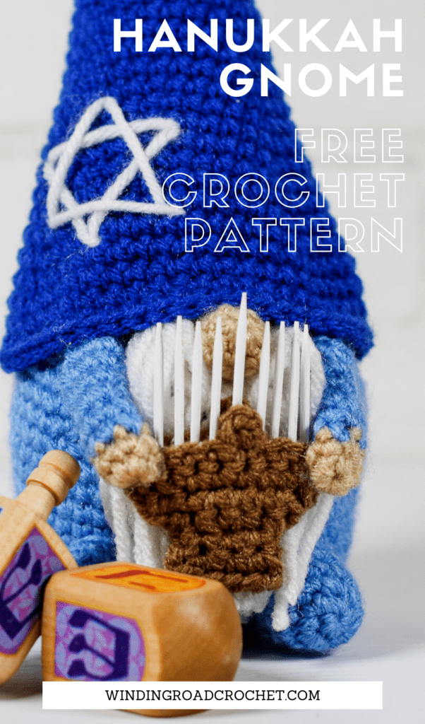 Celebrate the holidays with this crochet Hanukkah gnome. Free crochet pattern for a fun holiday decoration with a video tutorials.