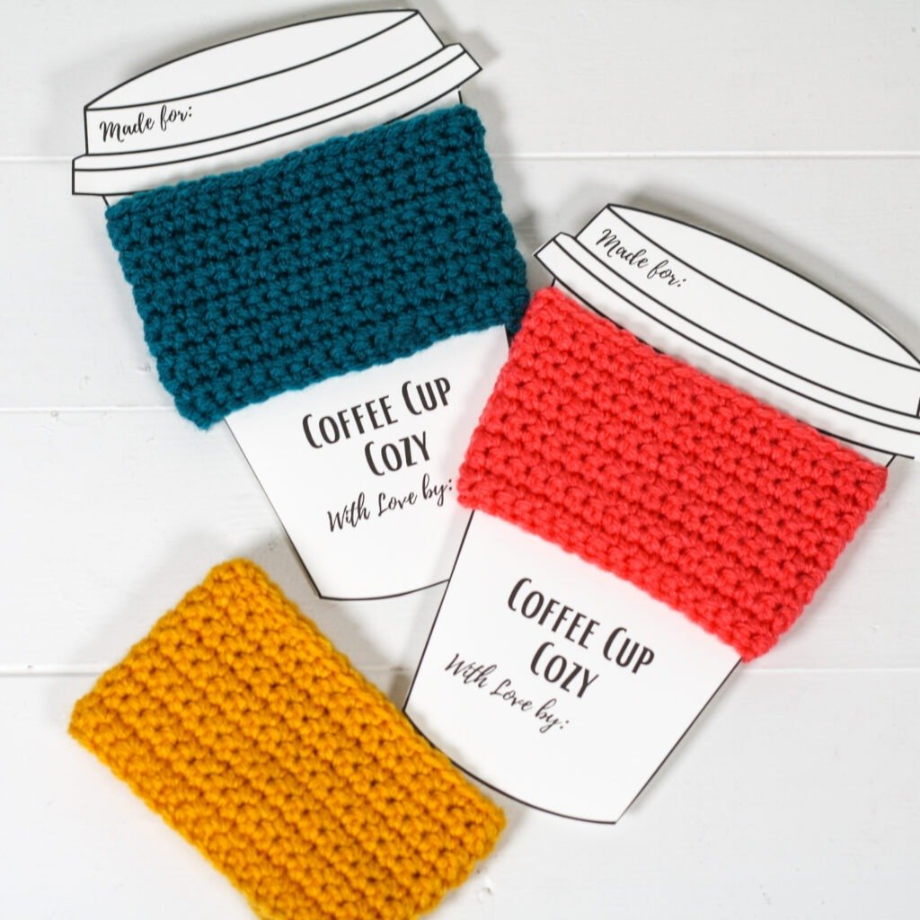 This free crochet pattern is perfect for beginners. This crochet coffee cozy pattern is easy to follow and even has an unabbreviated pattern version.