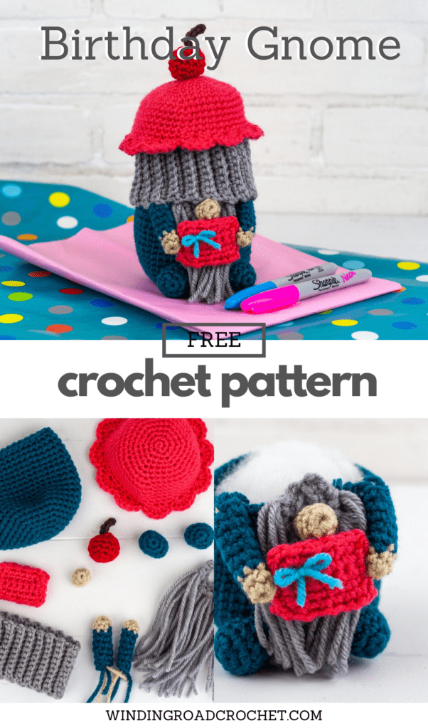 Have a Happy Birthday with this cute Crochet Birthday Gnome. Free crochet pattern for a fun gift with helpful video tutorials.