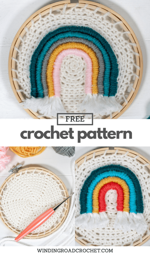 Learn how to make embroidery crochet rainbow wall hanging. You will be using your crochet skills and learning to embroider with a video.