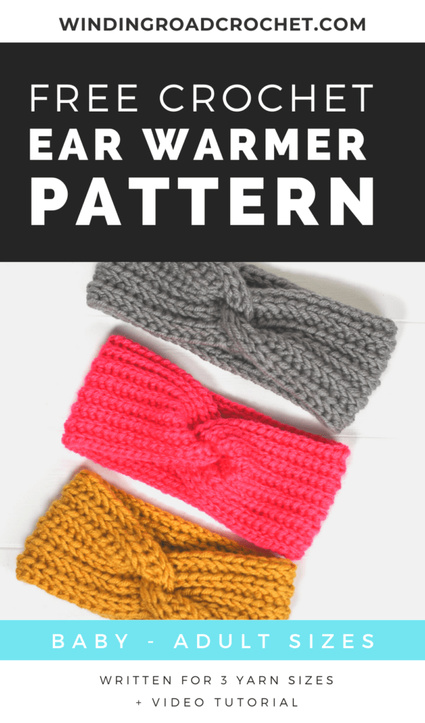 This quick crochet twisted ear warmer is a perfect gift. The free pattern has a video tutorial and instructions for using 3 weights of yarn.