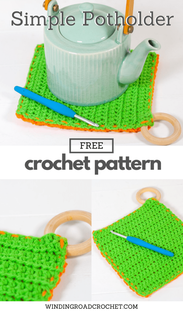 This free crochet pattern is perfect for beginners. This beginner crochet potholder pattern is easy to follow and makes a perfect quick and easy gift.