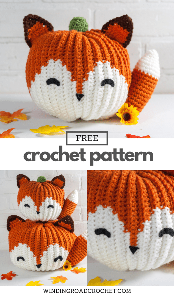 Free crochet pattern and video tutorial for this adorable crochet fox pumpkin. You can make the pumpkin in two sizes to meet your needs.