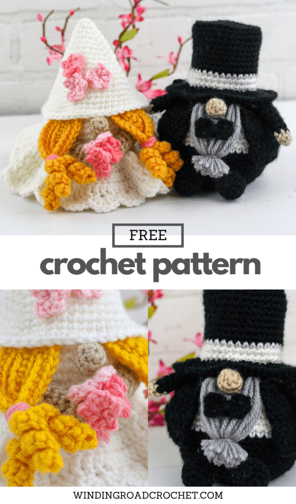 These crochet wedding gnomes make a wonderful wedding shower gift. Free crochet pattern for a fun gift with helpful video tutorials.