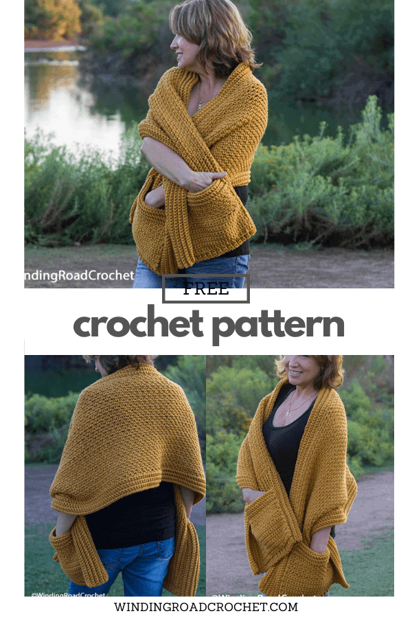 Crochet a super easy pocket shawl that will keep you warm and cozy. Free crochet pattern and easy to follow video tutorial.