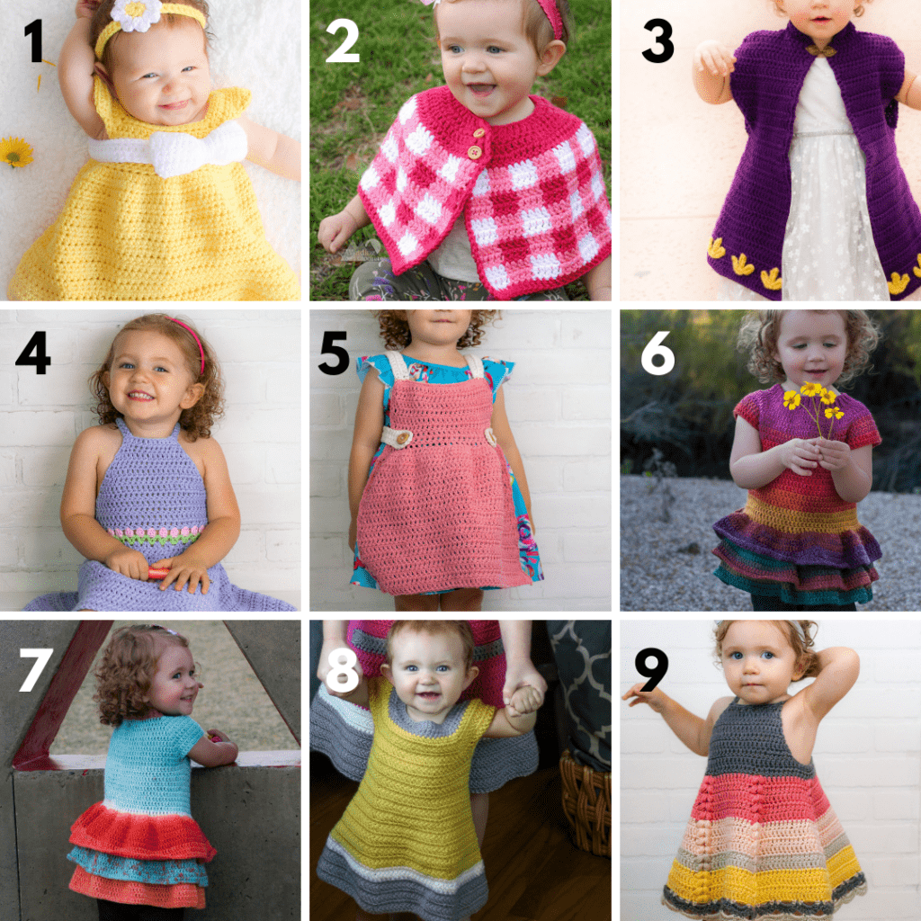 Crochet dress and tops for toddlers by Winding Road Crochet.