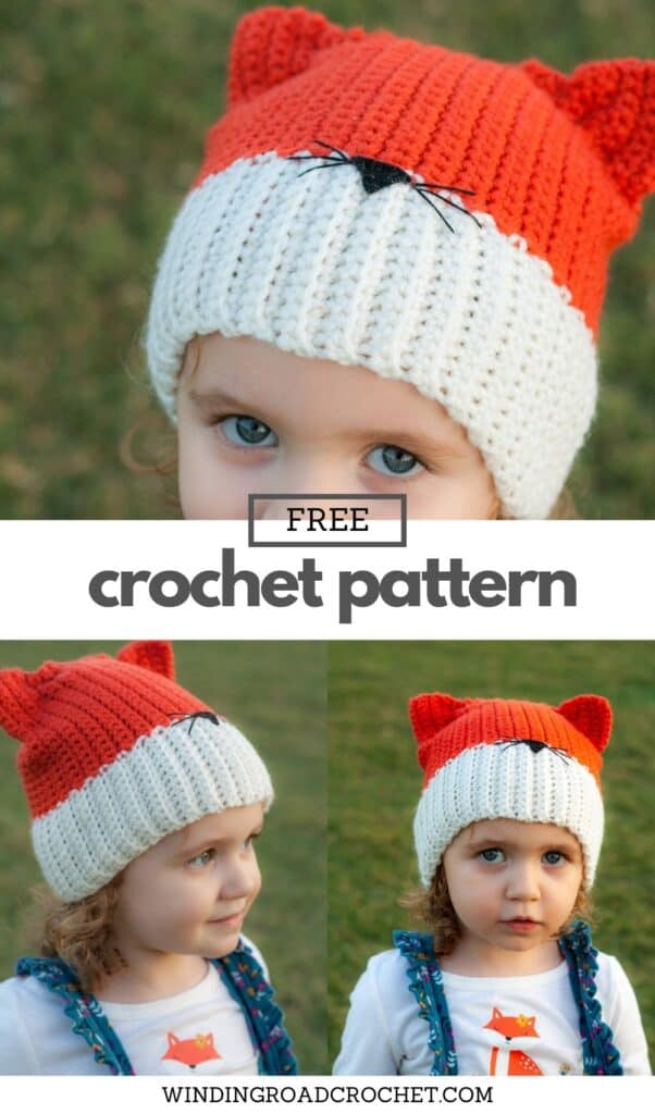 Crochet a quick and easy crochet fox hat. Free crochet pattern with video tutorial. Plus instructions on how to make a wolf hat as well.