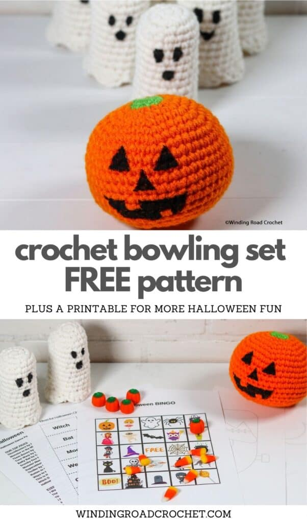 Make a quick and easy Pumpkin and Ghosts Halloween Crochet Bowling Set. Free crochet pattern plus Halloween games printable fo a fun holiday.