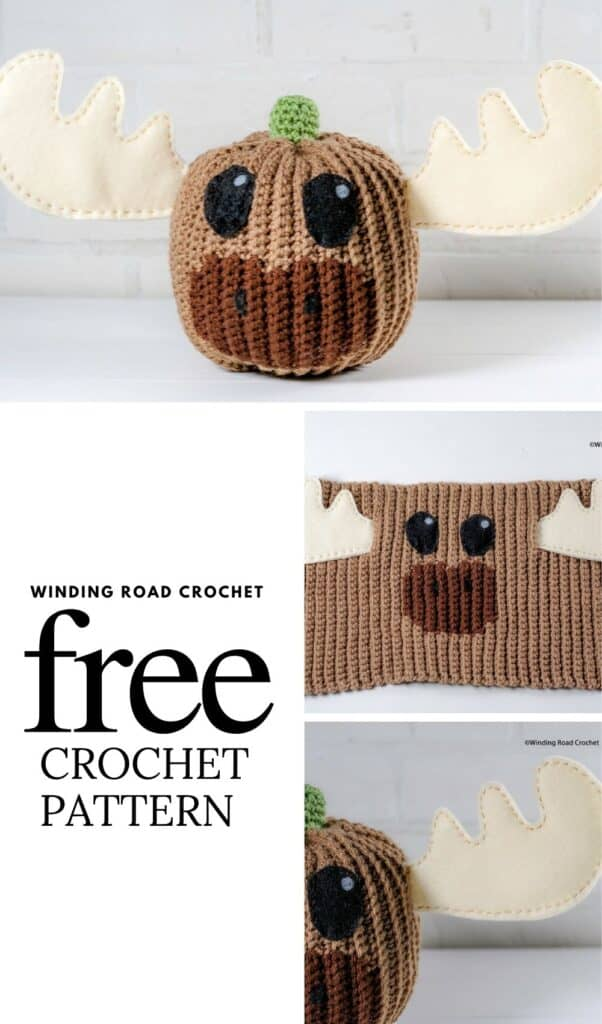 Free crochet pattern and printable template for this adorable crochet moose pumpkin. He will make a great addition to your fall decor.