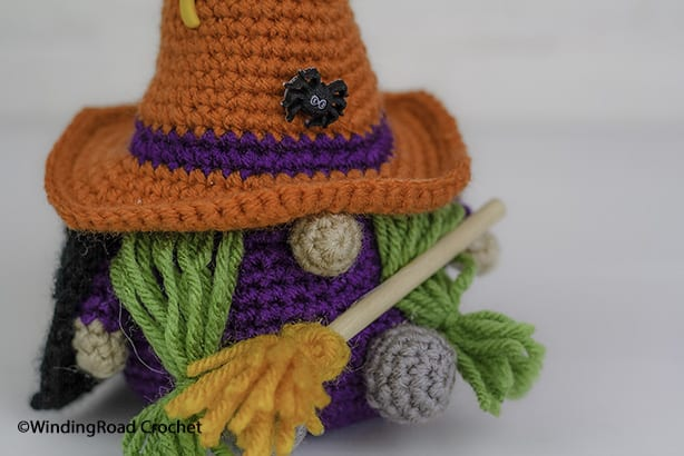 Have a Happy Halloween with this cute Crochet Witch Gnome. Free crochet pattern for a fun holiday decoration with a video tutorials.