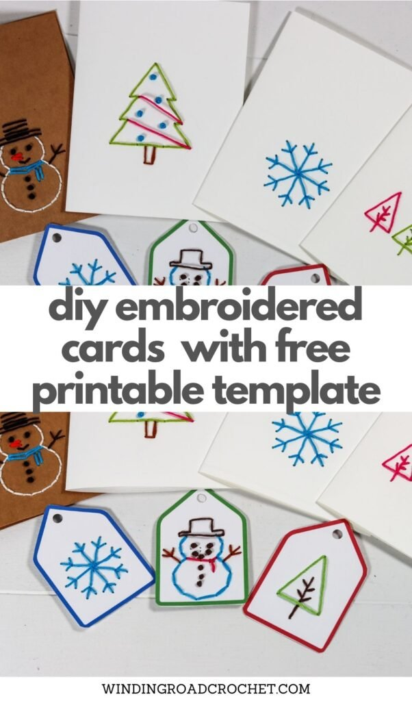 Just print the Embroidery Christmas cards template and quickly and easily make some handmade embroidered Christmas cards.