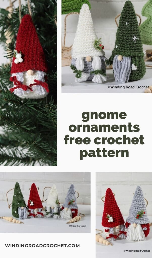 Add a crochet gnome ornament to your holiday decorations this year. Free crochet pattern with lots of examples on how to customize the gnome.