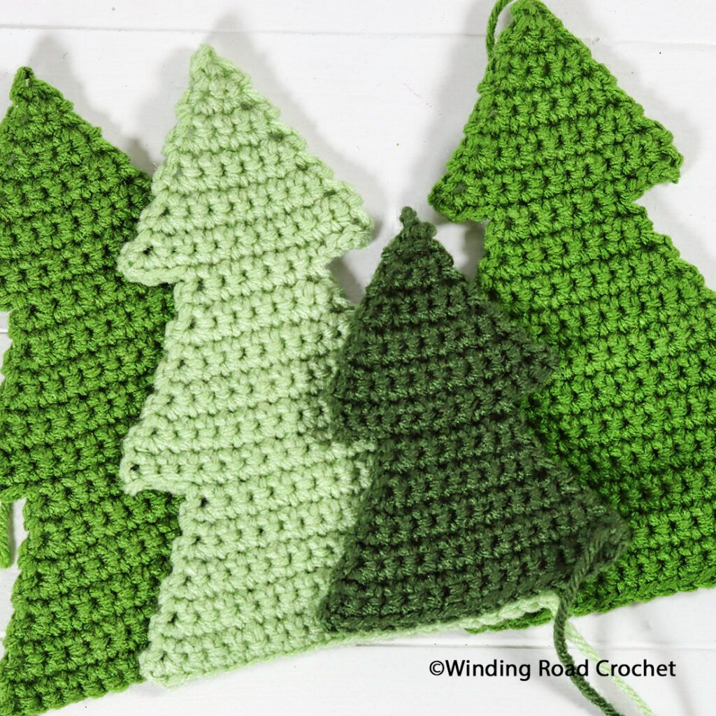 This quick crochet tree set will look great in your home all winter. Free crochet pattern and video tutorial for some great holiday decor.