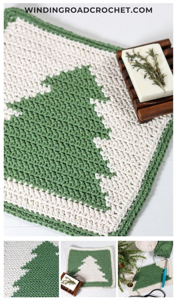Free crochet pattern for a Evergreen crochet washcloth. Great for winter or cabin style home decor. Pattern can be crocheted in two sizes.