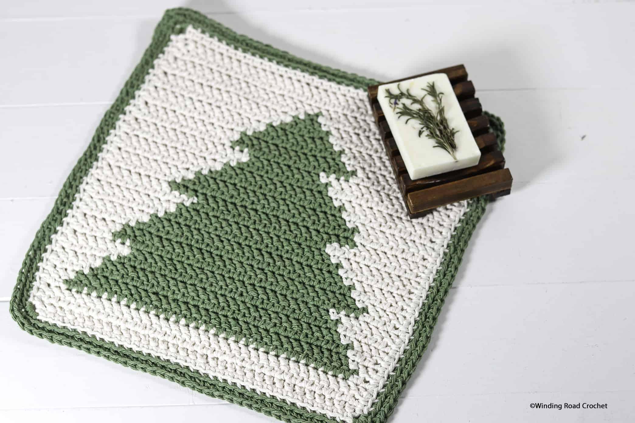 Evergreen Crochet Washcloth Simple Free Pattern Winding Road Crochet