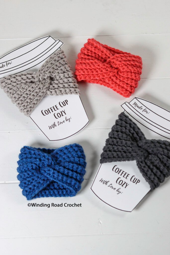 This twisted cup cozy is a quick and easy crochet project. Whip up a few to take with you or use the free crochet pattern to make some last-minute gifts.
