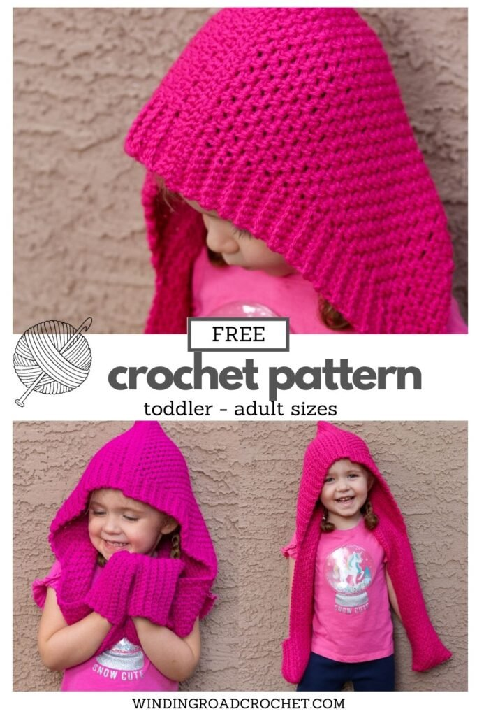 The Hinterlands Hooded Crochet Scarf in a free easy crochet pattern for a scarf with a hood and pockets. Sizes include toddler through adult.