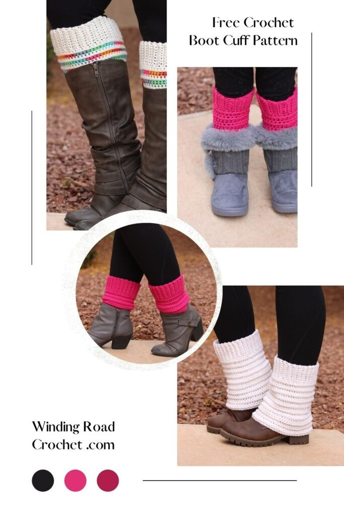 These crochet boot cuffs can be made for any style boot! Really! Follow the tutorial and free pattern to make boot cuffs to fit your boots.