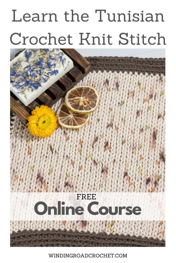 Learn all the basics of Tunisian crochet with this free online course. Lesson three covers how to crochet the Tunisian Knit Stitch.