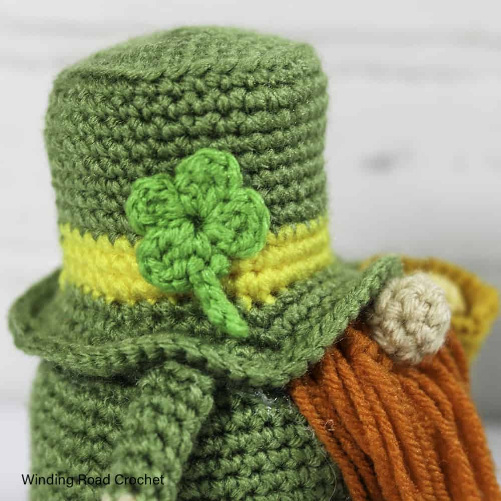 Crochet a St. Patrick's Day Gnome. This free crochet pattern will help you make an adorable leprechaun gnome male or female.