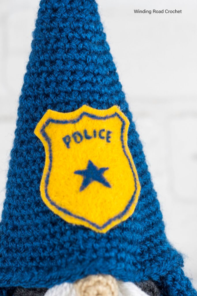 A crochet police gnome makes a addition to your gnome collection. This free crochet pattern will help you make an adorable gnome.