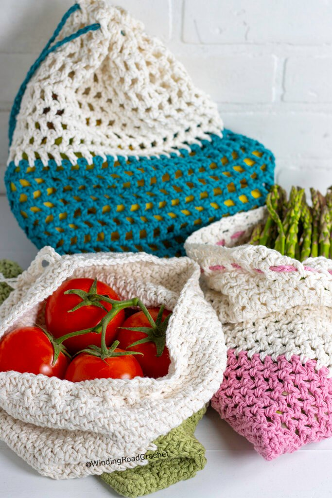 Make a crochet produce bag and leave those single-use plastic bags at the store. You will create less waste with this free crochet pattern.