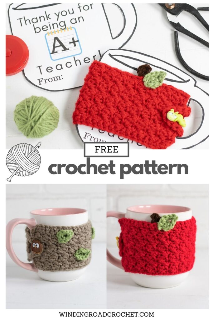 Need a last-minute Teacher's gift? This free crochet pattern for an Apple Coffee Cup Cozy works up very fast and has a video tutorial.