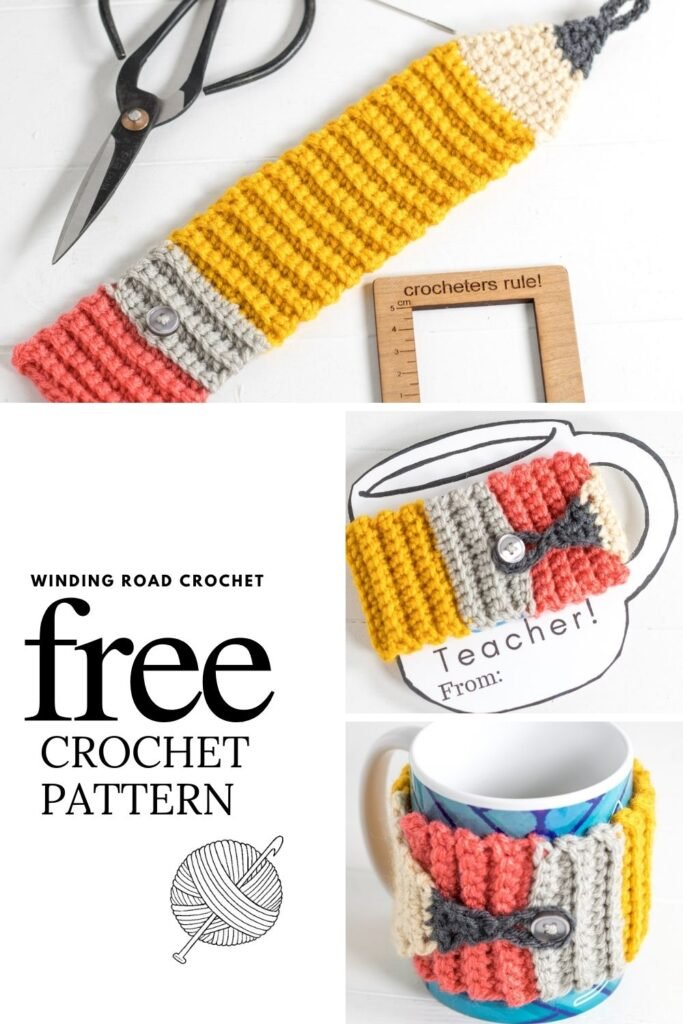 Free crochet pattern for a quick and easy crochet cozy with a video tutorial. This mug cozy is great for a Teacher's gift.