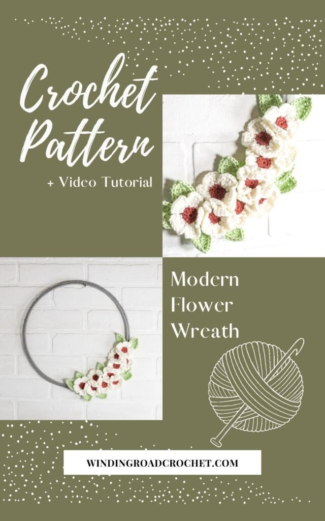 Add some modern home decor to your house with this free flower crochet wreath pattern. The floral wire wreath pattern with a video tutorial.