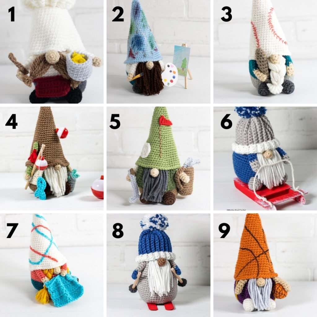 photo of nine difference crochet hobby and sports gnomes