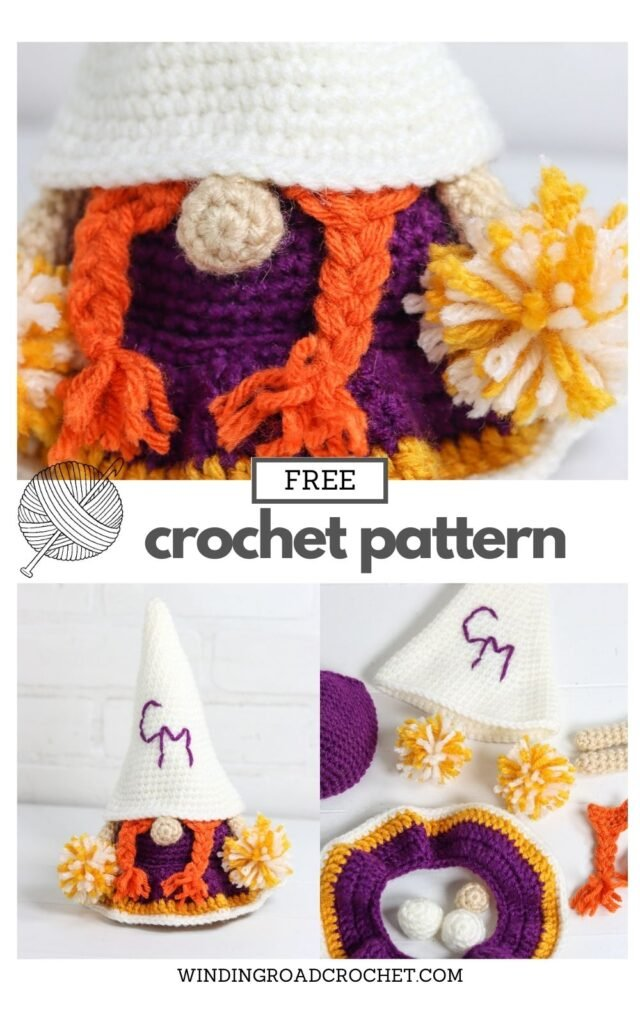 A crochet cheerleader gnome makes a great gift for a sports fan. Free crochet pattern for a cute sports gnome with helpful videos.