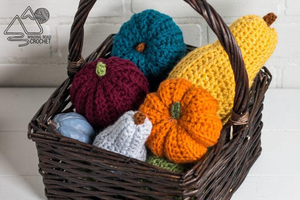 mini pumpkin and gourds crochet in basket