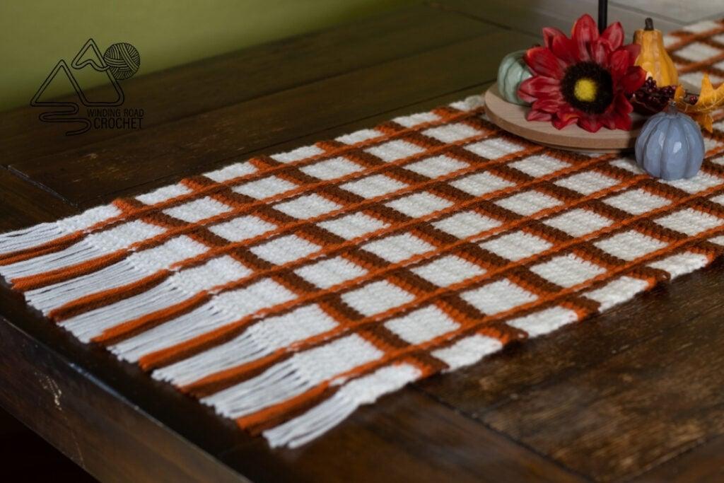 tartan plaid crochet table runner