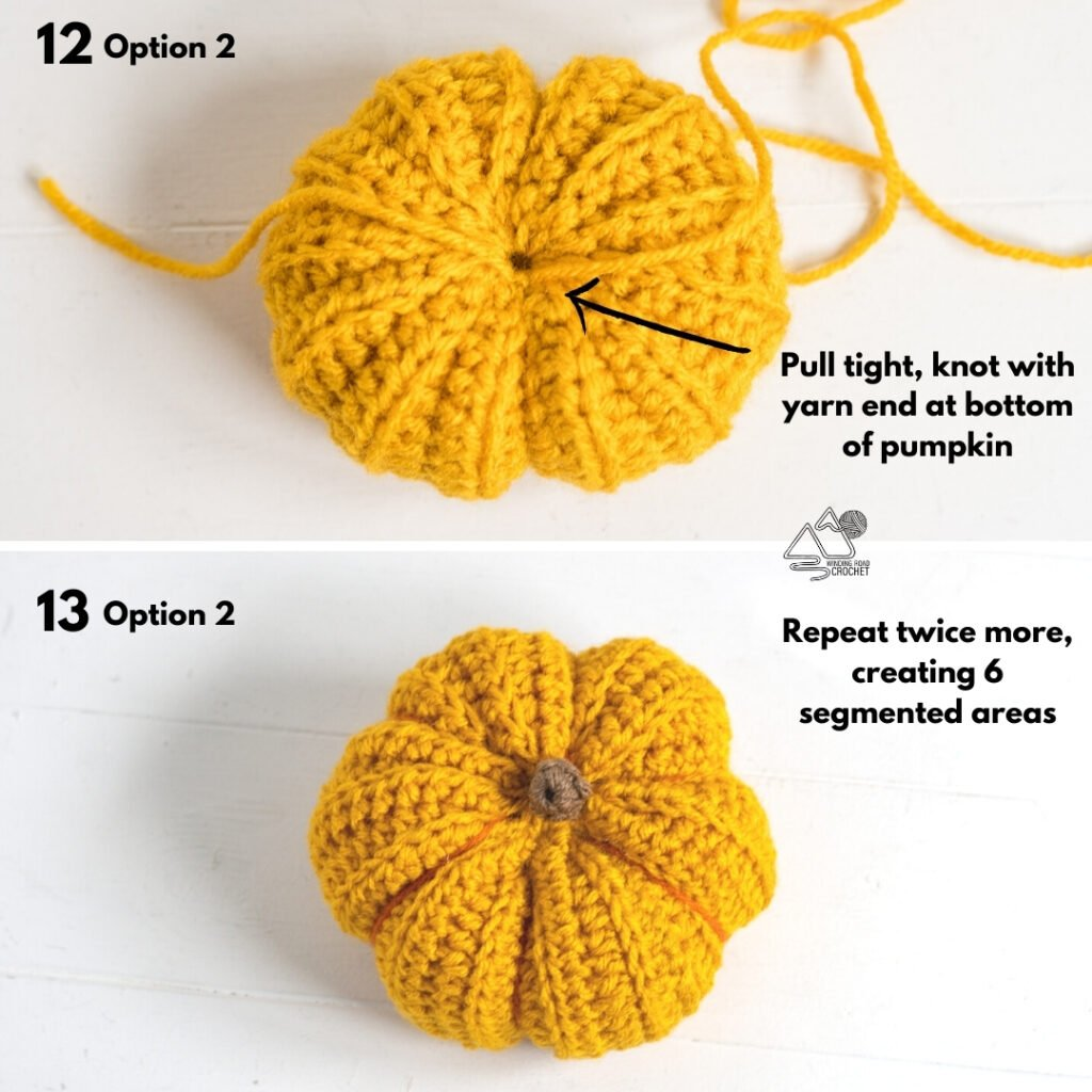 Instructional photo for how to sew and gather the crochet pumpkins.