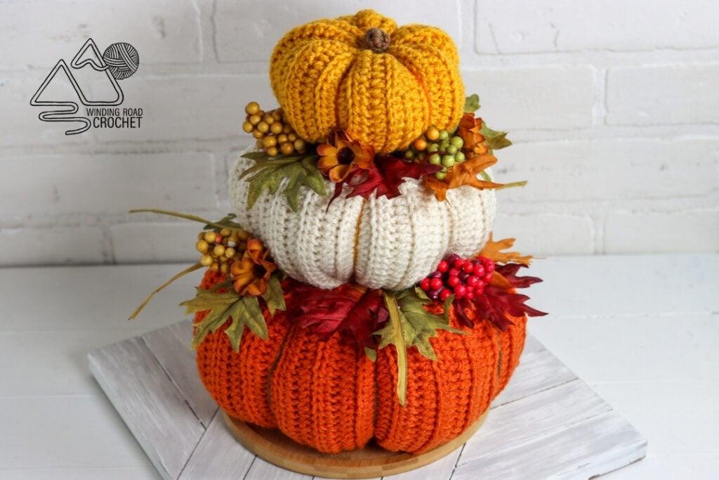 three stacked crochet pumpkin centerpiece